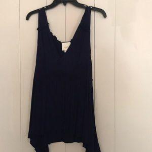 Anthropologie navy hi/low sleeveless blouse in L